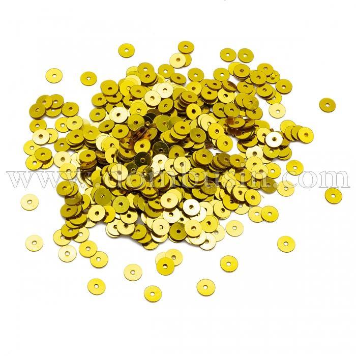 Пайетки, Круглые, Непрозрачные, эффект Античный Металлик, Цвет: Желтое Золото, Размер: 5мм, около 1150шт/10г, (УТ100024283)