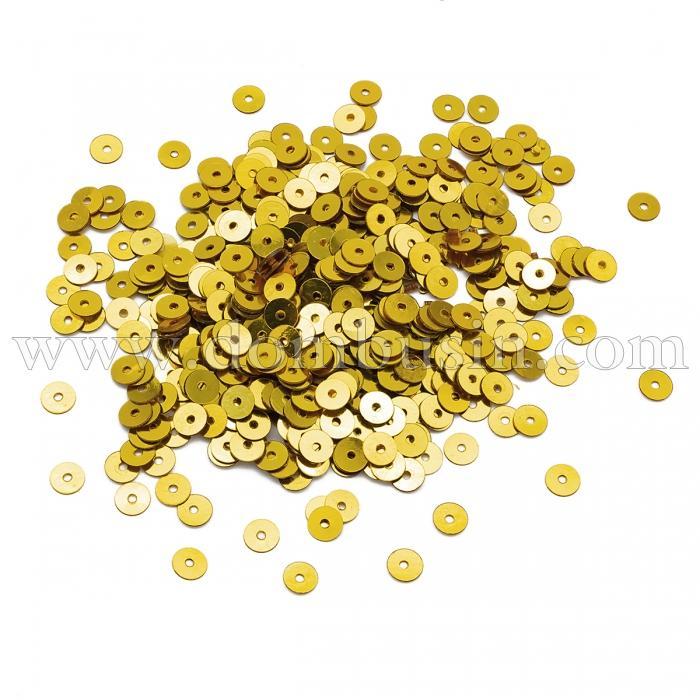 Пайетки,Круглые, Непрозрачные, эффект Античный Металлик, Цвет: Золото, Размер:5мм, около 1150шт/10г, (УТ100024284)