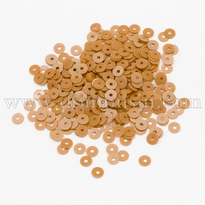 Пайетки, Круглые, Перламутровые, Цвет: Светло-оранжевый, Размер: 3мм, около 4000шт/10г, (УТ100024296)