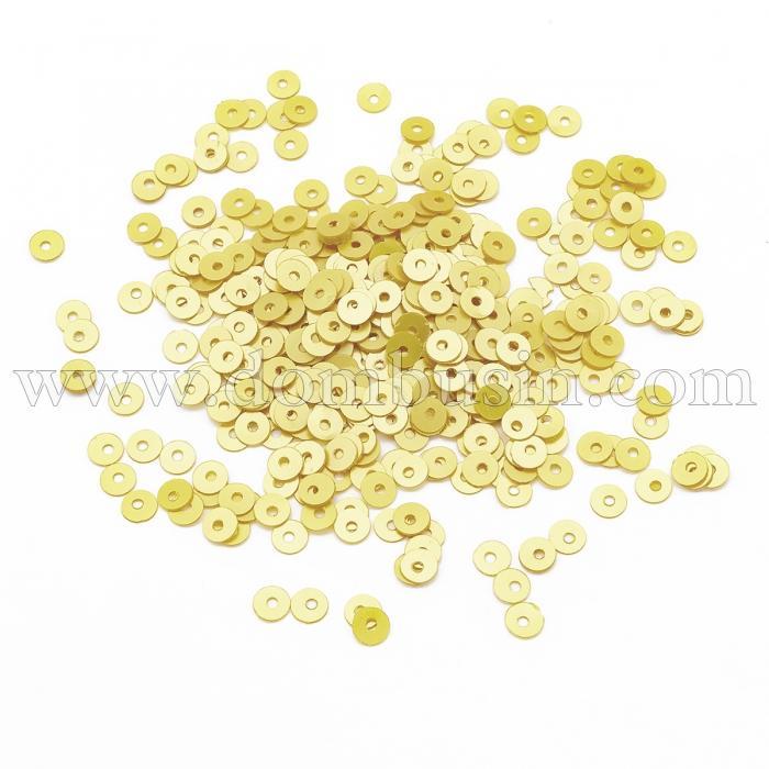 Пайетки, Круглые, Перламутровые, Цвет: Светло-желтый, Размер: 4мм, около 2500шт/10г, (УТ100024308)