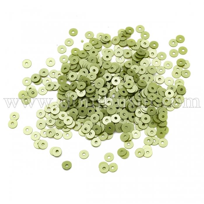 Пайетки, Круглые, Перламутровые, Цвет: Салатовый, Размер: 4мм, около 2500шт/10г, (УТ100024309)
