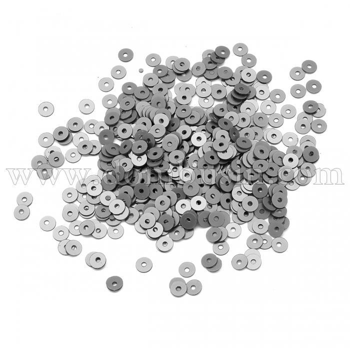 Пайетки, Круглые, Перламутровые, Цвет: Серый,  Размер: 4мм, около 2500шт/10г, (УТ100024328)
