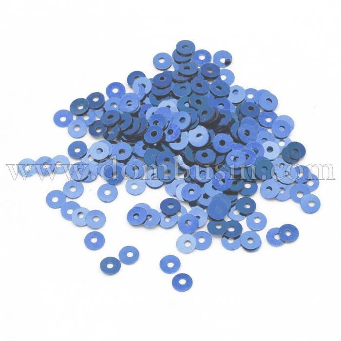 Пайетки, Круглые, Перламутровые, Цвет: Голубой, Размер: 4мм, около 2500шт/10г, (УТ100024329)