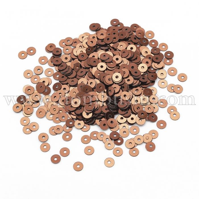 Пайетки, Круглые, Перламутровые, Цвет: Медный, Размер: 3мм, около 4000шт/10г, (УТ100024337)