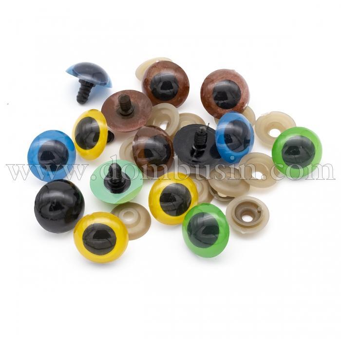 Глазки с Фиксатором и Штифтом, для Игрушек, Круглые, Цвет: Микс, Размер: 24мм, (УТ100024490)
