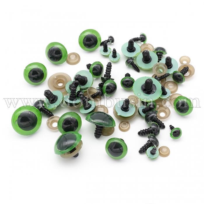 Глазки с Фиксатором и Штифтом, для Игрушек, Круглые, Цвет: Зеленый, Размер: 8~24мм, (УТ100024491)