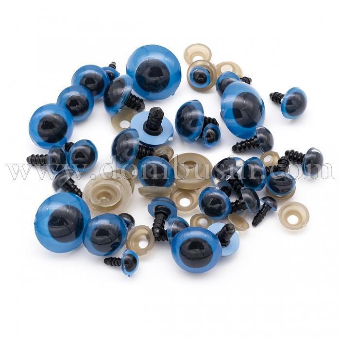 Глазки с Фиксатором и Штифтом, для Игрушек, Круглые, Цвет: Голубой, Размер: 8~24мм, (УТ100024492)