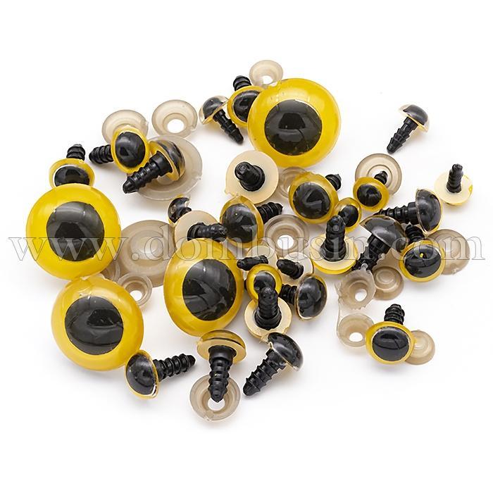Глазки с Фиксатором и Штифтом, для Игрушек, Круглые, Цвет: Желтый, Размер: 10~24мм, (УТ100024497)