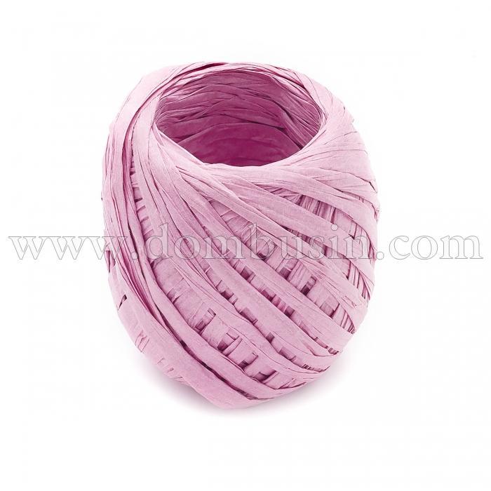 Шнур Рафия из бумаги, Ленточный Шнур, Овал, Цвет: Розовый, Размер: 3.8-6.2мм, около 20м/моток, (УТ100024541)