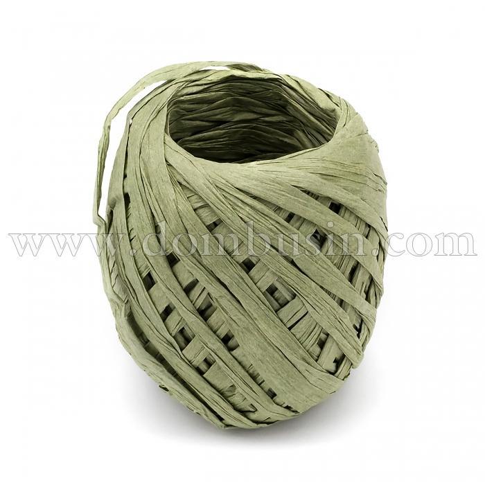 Шнур Рафия из бумаги, Ленточный Шнур, Овал, Цвет: Оливковый, Размер: 3.8-6.2мм, около 20м/моток, (УТ100024545)