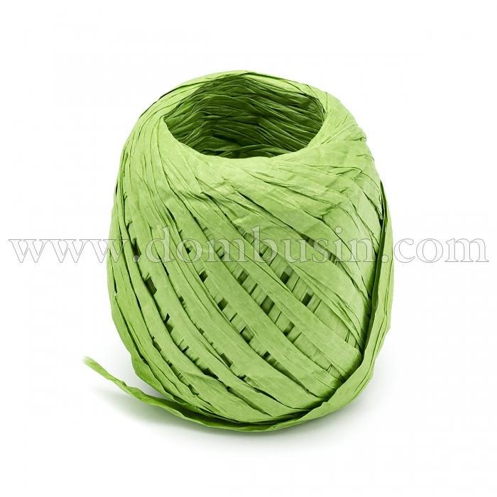 Шнур Рафия из бумаги, Ленточный Шнур, Овал, Цвет: Зеленый, Размер: 3.8-6.2мм, около 20м/моток, (УТ100024547)
