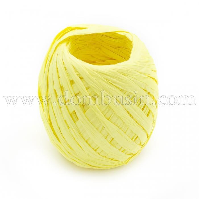 Шнур Рафия из бумаги, Ленточный Шнур, Овал, Цвет: Лимон, Размер: 3.8-6.2мм, около 20м/моток, (УТ100024548)