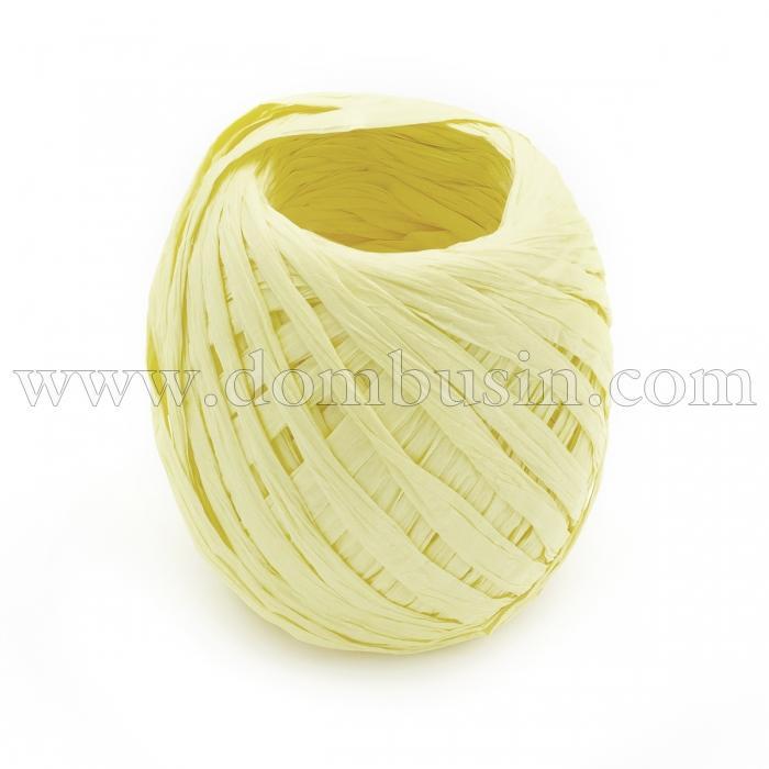 Шнур Рафия из бумаги, Ленточный Шнур, Овал, Цвет: Светло-желтый, Размер: 3.8-6.2мм, около 20м/моток, (УТ100024549)