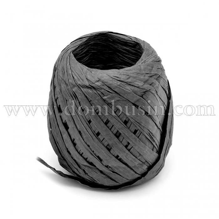 Шнур Рафия из бумаги, Ленточный Шнур, Овал, Цвет: Черный, Размер: 3.8-6.2мм, около 20м/моток, (УТ100024550)