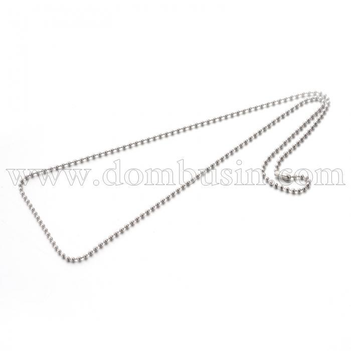 Ожерелье из Нержавеющей Стали, Цепь, Перлина, Размер: 59.9см, Ширина 2.4мм, (УТ100024560)