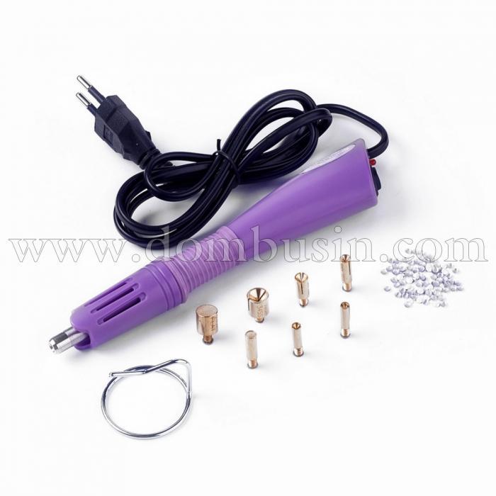 Аппликатор Электрический, 7 насадок с резьбой, для Страз, Размер: 18.5x4x2.3см, Напряжение 110-240V, (УТ100024687)