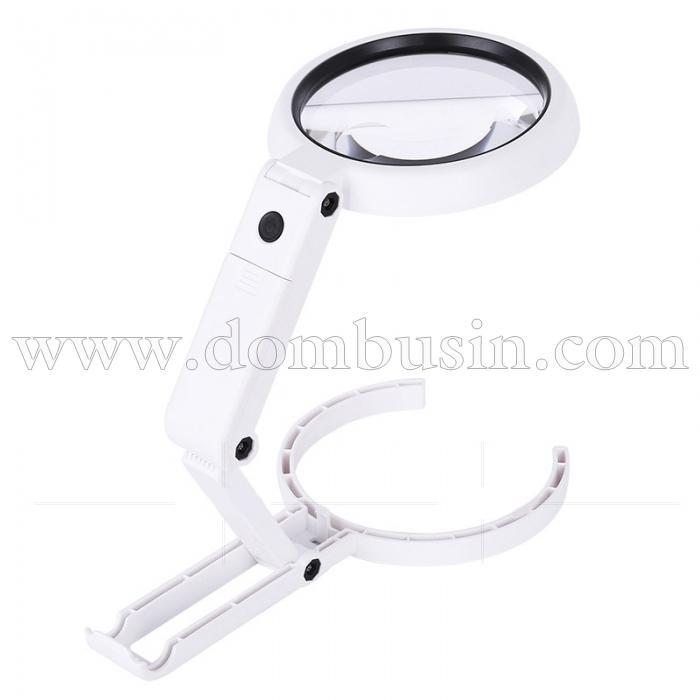 Складная Лампа-Лупа  ABS-Пластик+Акрил, Цвет: Белый, Размер: 22x11x3.2см, Увеличение: 3.5х, (УТ100024691)