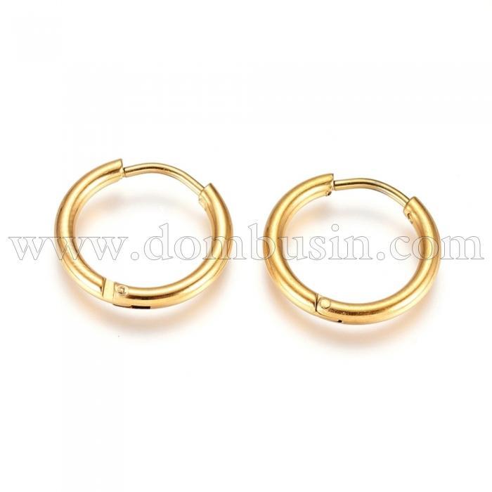 Серьги-кольца, Нержавеющая Сталь, Цвет: Золото, Размер: 16х2мм, Штифт: 0.9мм, (УТ100024737)