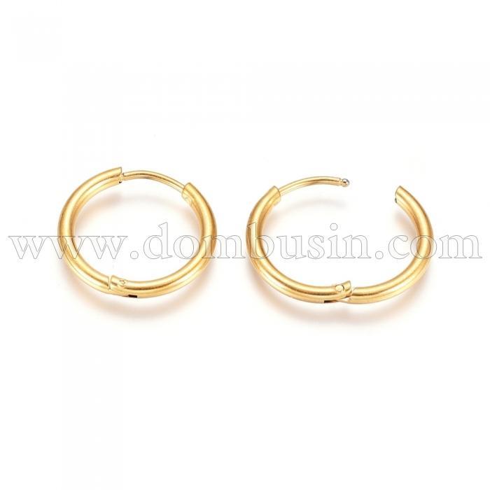 Серьги-кольца, Нержавеющая Сталь, Цвет: Золото, Размер: 18х2мм, Штифт: 0.9мм, (УТ100024738)