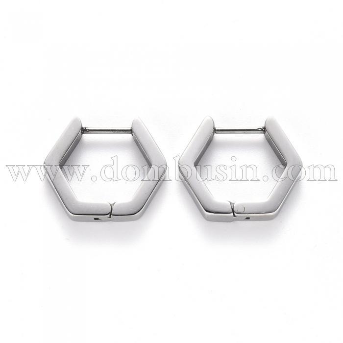 Серьги-кольца, Нержавеющая Сталь, Шестиугольник, Размер: 15,5x16,5x3мм, Штифт: 1мм, (УТ100024744)