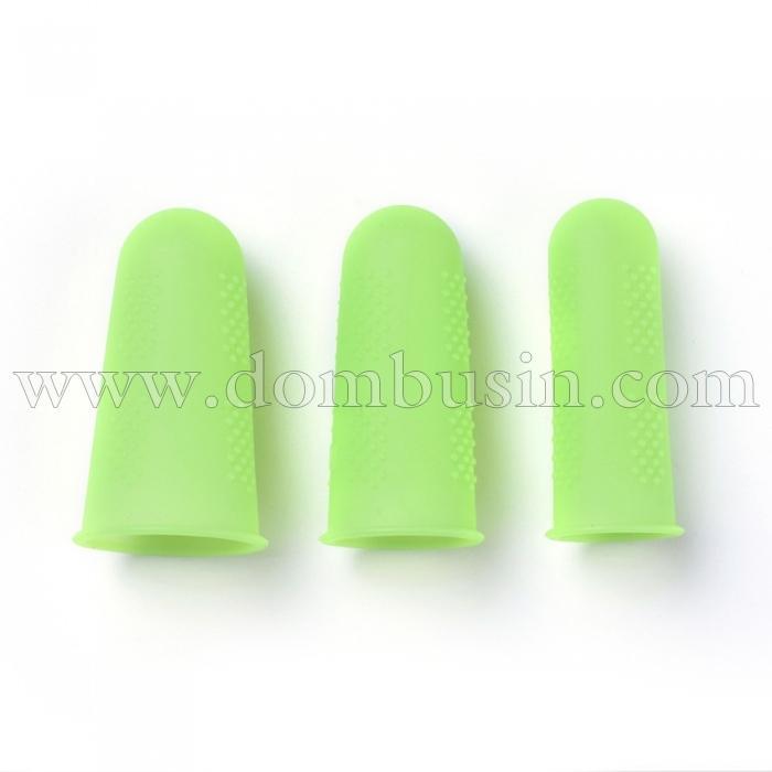 Силиконовые Накладки на Пальцы, Термостойкие, Противоскользящие, Цвет: Зеленый Газон, Размер: 45х25мм, 3шт/комплект, (УТ100024751)
