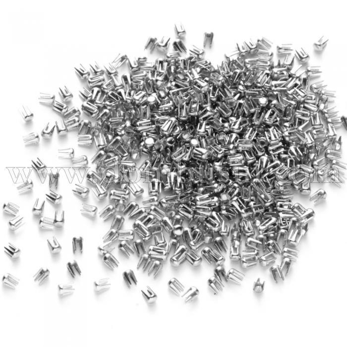 Заклепки из Стали, для Фиксации Круглого Жемчуга без Отверстий, Размер: 3х2мм, (УТ100024757)