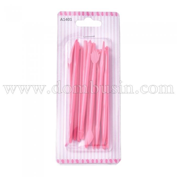 Набор Инструментов для Лепки из Пластика,Цвет: Темно-Розовый, Размер: 108-123x3.3-9.5мм, 14шт/набор, (УТ100024780)