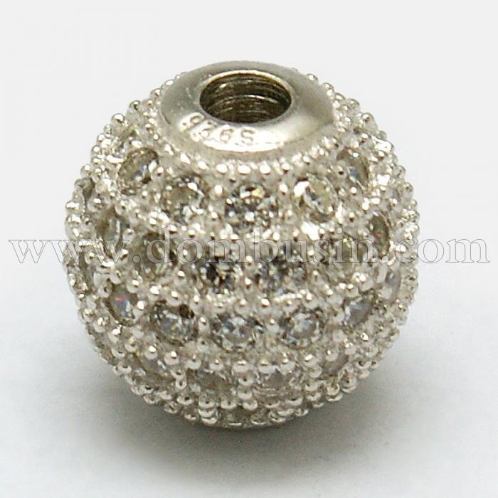 Серебро 925 Бусины, Круглые с Фианитами, Размер: Диаметр: 6мм, Отверстие 1мм, (УТ100024760)