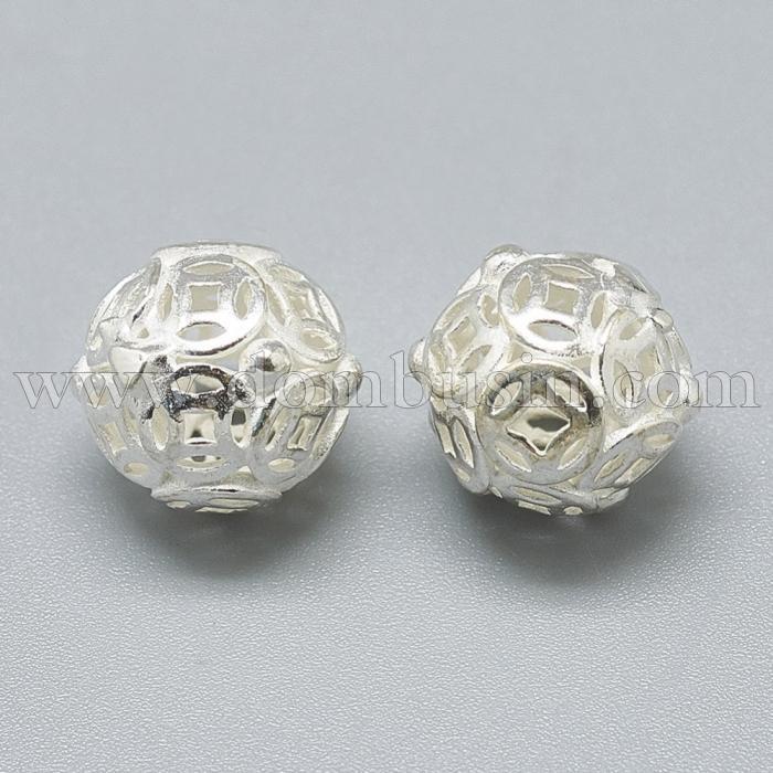 Серебро 925 Бусины, Филигранные, Круглые, Диаметр: 12мм, (УТ100024773)
