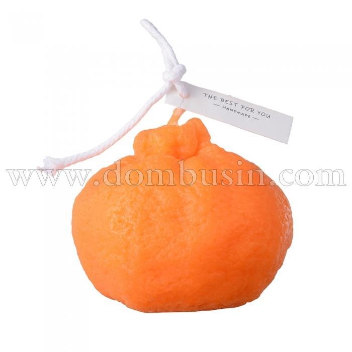 Декоративная Бездымная Свеча из Парафина, Цвет: Оранжевый, Размер: 64x67.5x71мм, (УТ100024783)