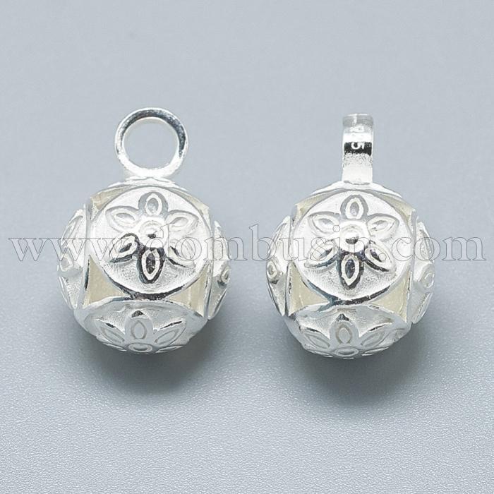 Серебро 925 Подвеска Круглая Цветок, Размер: 18х12мм, Отверстие: 3.5мм, (УТ100024792)