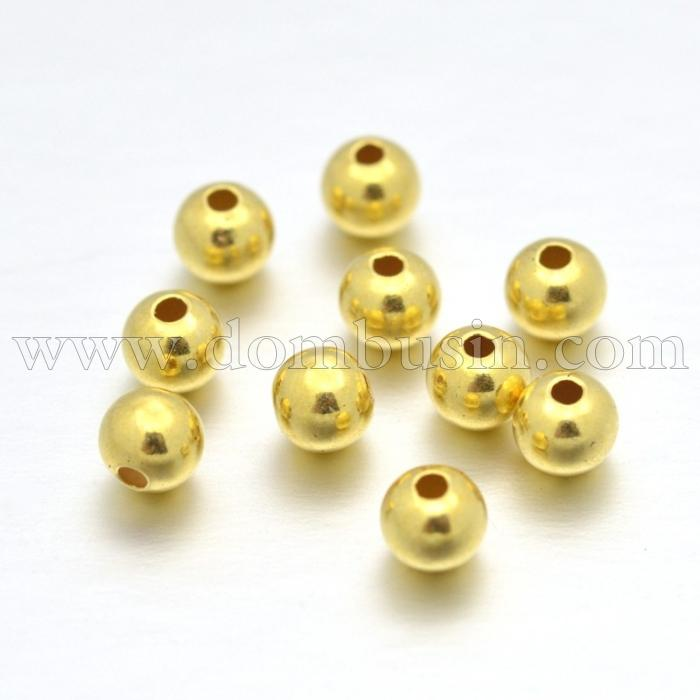 Серебро 925 Бусины, Круглые,  Покрытие Золото 18К, Размер: 4мм, Отверстие 1мм, (УТ100024771)