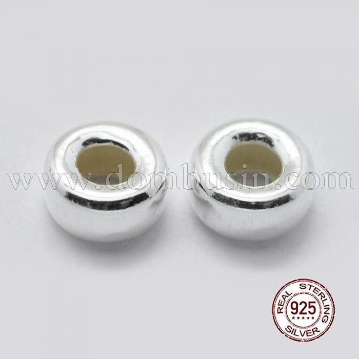 Серебро 925 Бусины-разделители, Рондель, Размер: 7х4мм, Отверстие: 3мм, (УТ100024819)