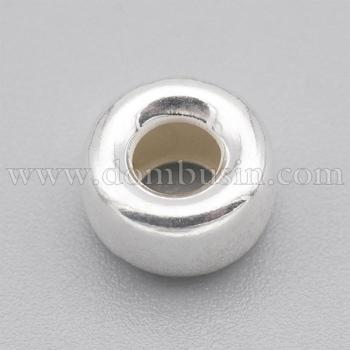 Серебро 925 Бусины-разделители, Рондель, Размер: 8х4.5мм, Отверстие: 3.5мм, (УТ100024820)