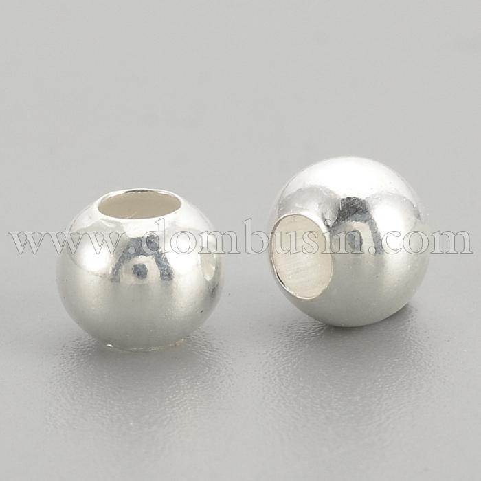 Серебро 925 Бусины, Круглые, Цвет: Серебро, Размер: 5х4мм, Отверстие 2мм, (УТ100024821)