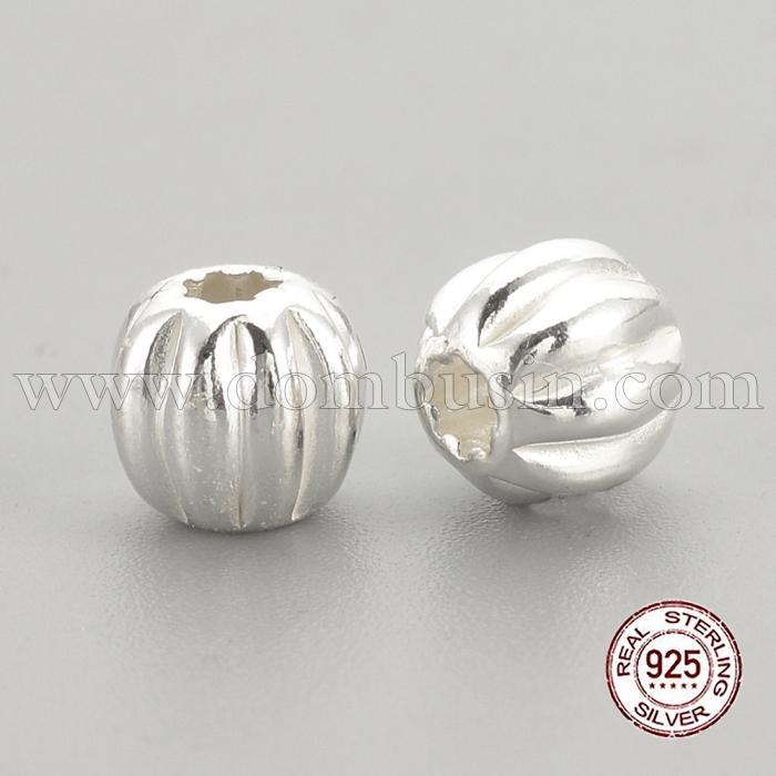Серебро 925 Бусины, Круглые, Цвет: Серебро, Размер: 5х4.5мм, Отверстие 1.5мм, (УТ100024828)