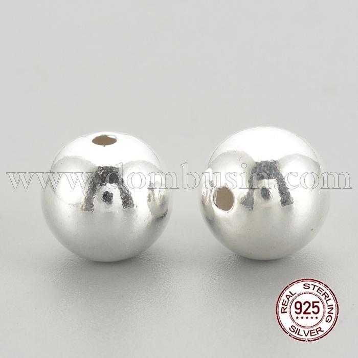 Серебро 925 Бусины, Круглые, Цвет: Серебро, Размер:: 6х5.5мм, Отверстие 1.5мм, (УТ100024830)