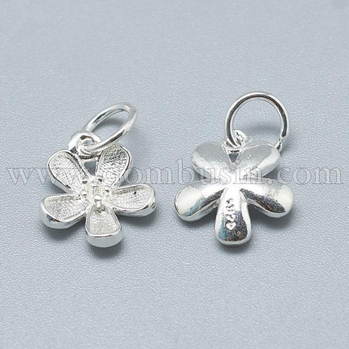 Серебро 925 Подвеска Цветок, с Колечком, Цвет: Серебро, Размер: 12х10х3мм, Отверстие 4мм, (УТ100024850)