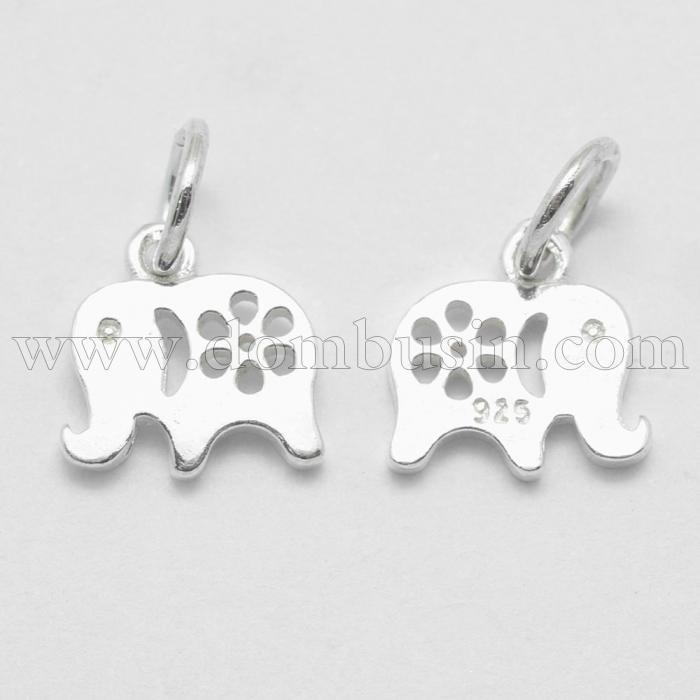 Серебро 925 Подвеска Слон, с Колечком, Размер: 10х13х1.5мм, Отверстие 4мм, (УТ100024768)