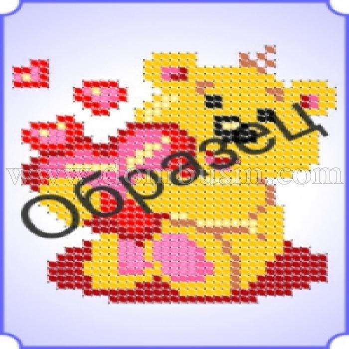 """Схема Частичная для Вышивки А6, Бисером, """"Влюбленный мишка"""", ТМ """"Ришелье"""", Арт. Е-42, (УТ100005228)"""